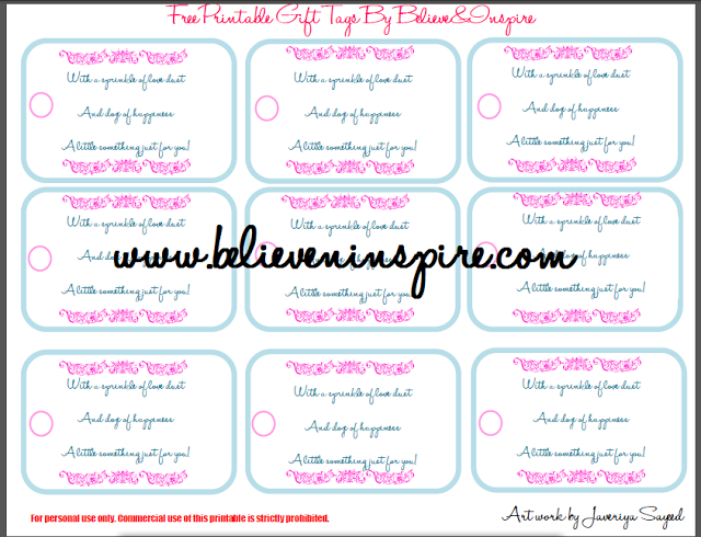 Elegant Pink Colored Gift Tags- Free Printable
