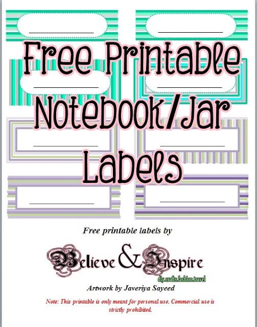 Free Printable Labels for Jars etc.