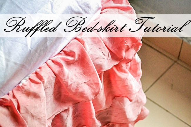 Ruffled Bed Skirt from Old Curtains and Bed-sheet