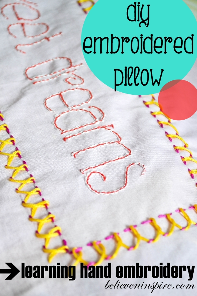 Hand Embroidery Stitch 2 – Back-stitch and Embroidered Pillow Cover