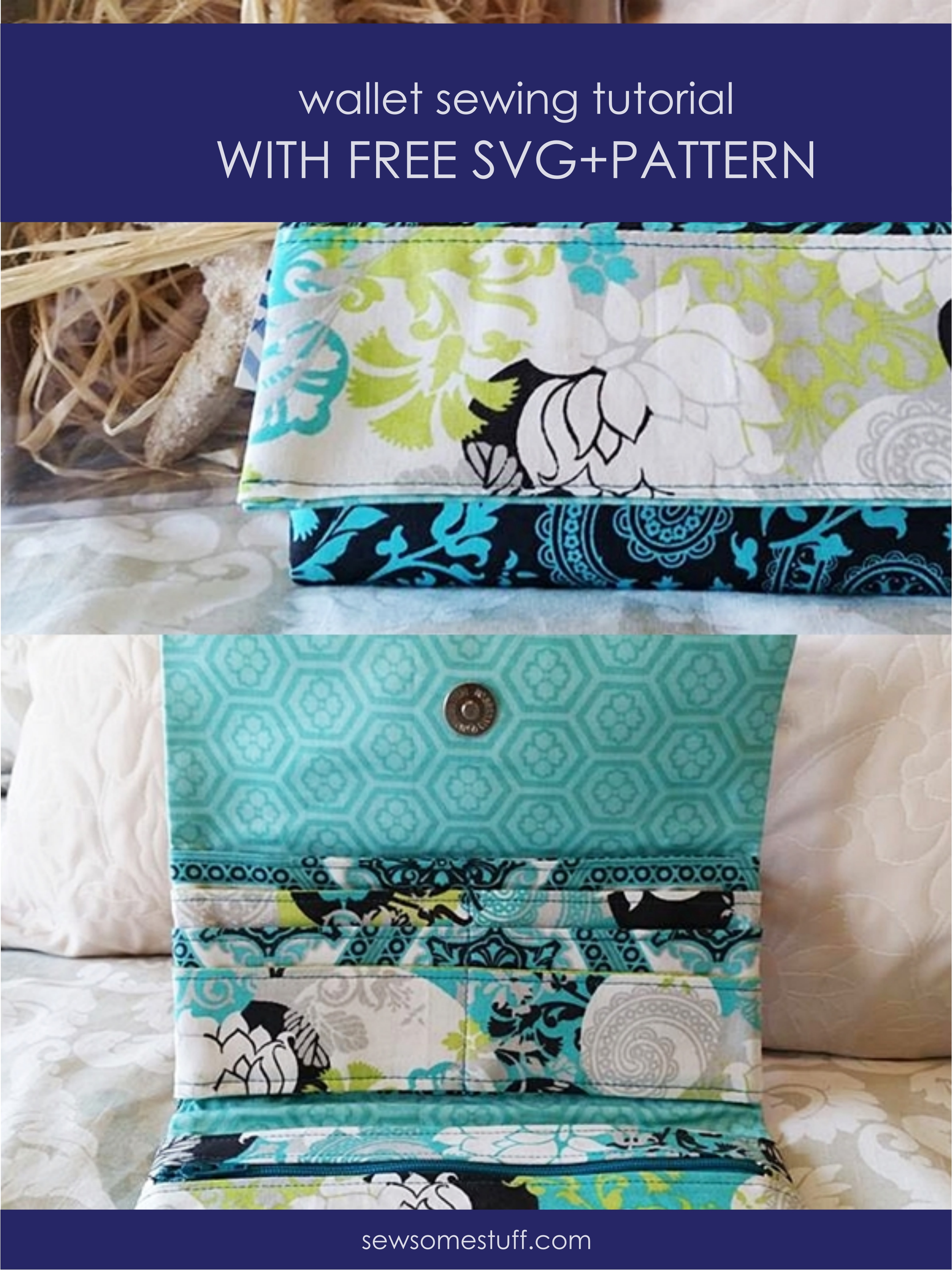In this post, I'm sharing a free wallet pattern, bi-fold wallet pattern, cricut maker sewing projects, how to sew a wallet out of fabric, wondrous wallet, homemade wallet