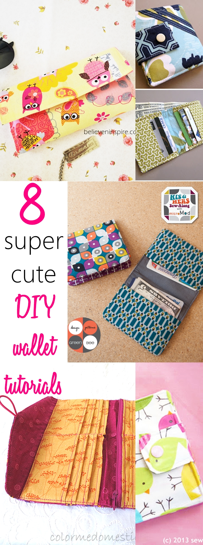 8 Super Cute Diy Wallet Tutorials Sew Some Stuff
