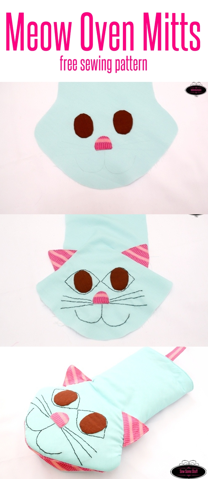 meow oven mitts free sewing pattern on sewsomestuff.com 1