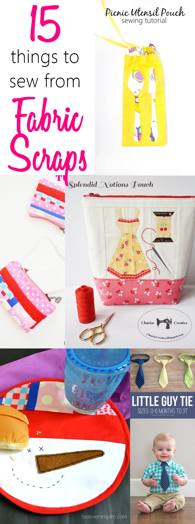 15 things to sew from fabric scraps. Check out these awesome Things to sew with fabric scraps which can be made from left over fabric in a jiffy! Great ideas for beginner sewing projects.