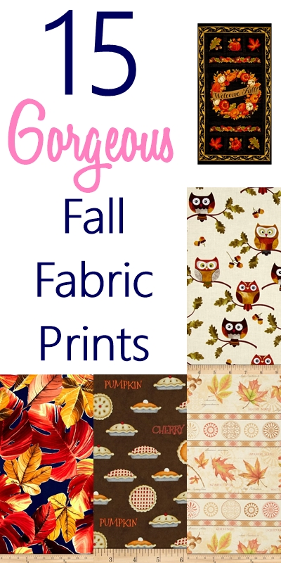 Looking for some beautiful fall fabric prints to update your home décor? I bet you're gonna love these fall fabric prints complete with pumpkins, pies and OWLS. These fabrics are PERFECT for fall fabric crafts. Check out now!