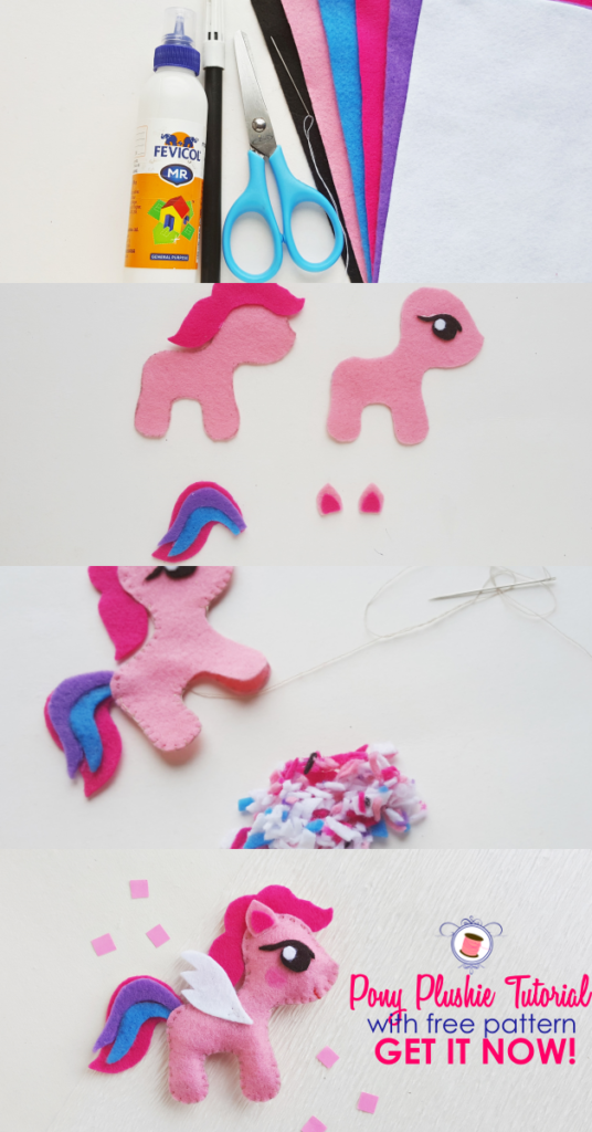 My Little Pony Sewing Pattern (Free) and Tutorial | pony craft | plush craft | my little pony | animal patterns | my little pony plush | crafty ponies | stuffed animal patterns | diy stuffed animals