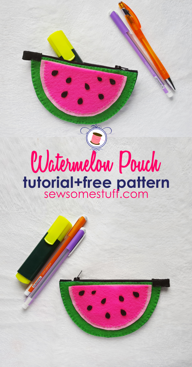 easy sew zipper pouches | watermelon zipper pouch |  free sewing patterns | mini bags, pouches, cosmetic cases, zippered pouches,