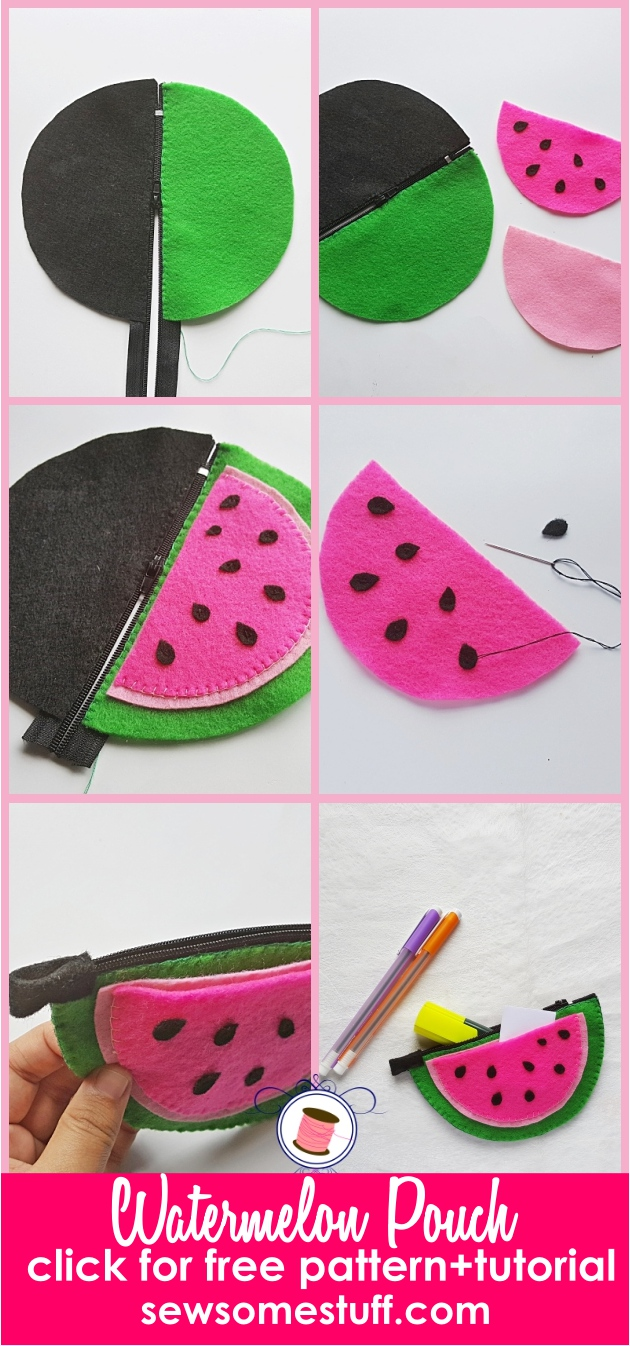 easy sew zipper pouches | watermelon zipper pouch | pouch tutorial | free sewing patterns | mini bags, pouches, zippered pouches,